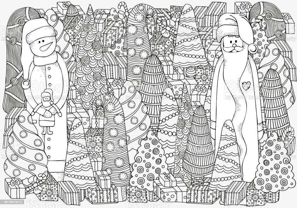 Ilustración de Árboles De Patrón Para Colorear Libro De La Navidad ...