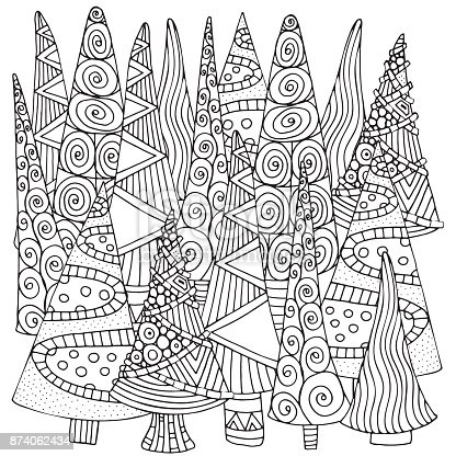 Pattern For Coloring Book Of Christmas Trees Handdrawn Decorative Elements In Vector Fancy Black And White Stock Art More