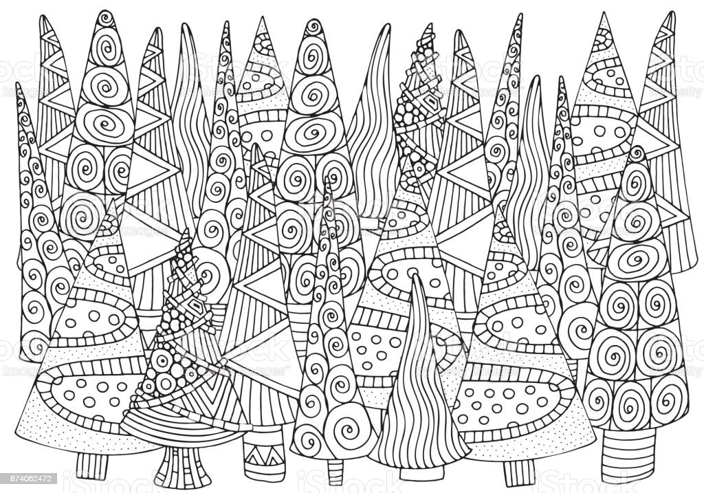 Pattern for coloring book of Christmas trees, hand-drawn decorative elements in vector. A4. Fancy Christmas trees. Black and white pattern. vector art illustration