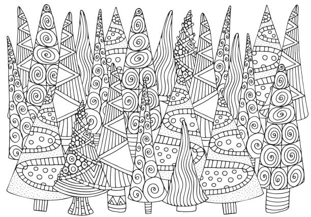 ilustrações de stock, clip art, desenhos animados e ícones de pattern for coloring book of christmas trees, hand-drawn decorative elements in vector. a4. fancy christmas trees. black and white pattern. - adulto