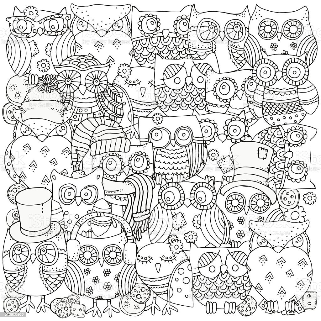 Pattern for coloring book. Owls. Black and white background....