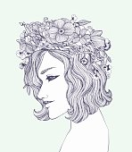 Pattern for coloring book page with beautiful girl in flowers.