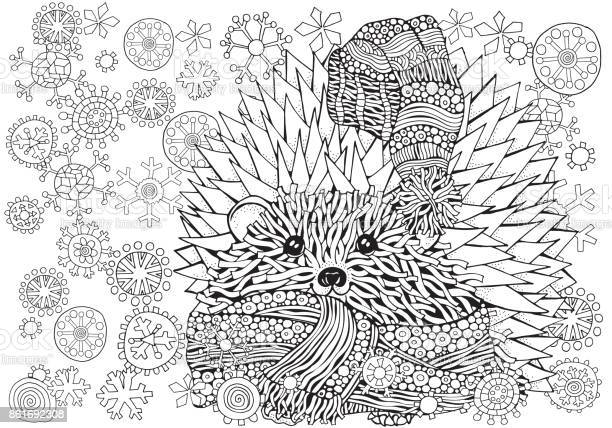 pattern for coloring book prickly hedgehog with xmas snowflakes in vector id