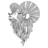 Pattern for coloring book. Ram's head.