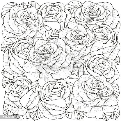 Pattern For Coloring Book Roses Stock Vector Art & More