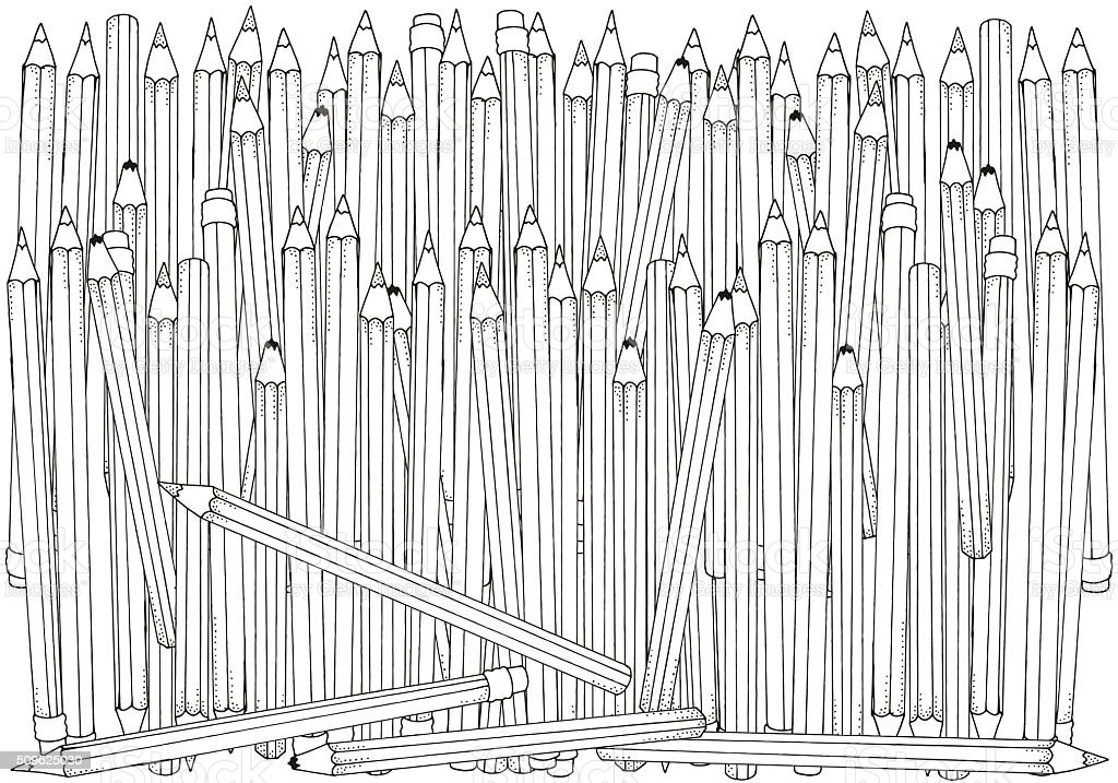 Pattern for coloring book. Set of colored pencils. A4 size. vector art illustration