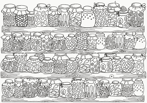 Pattern for coloring book. Set of glass jars. Canning.