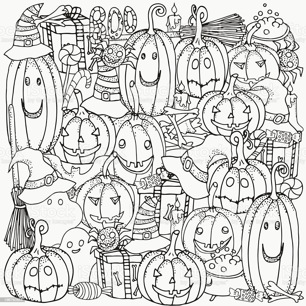 Motivo Per Libro Da Colorare Set Di Simboli Di Halloween Immagini