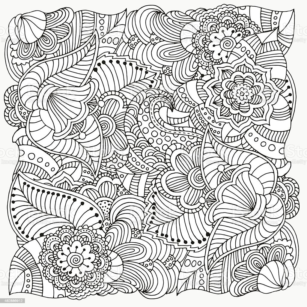 Pattern for coloring book. vector art illustration