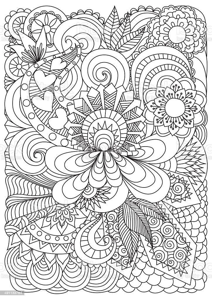 Pattern for coloring book vector art illustration