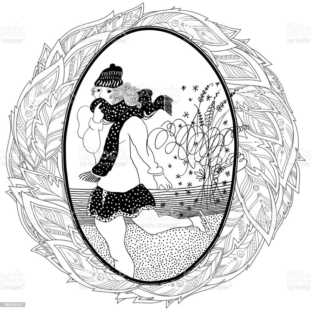 Pattern for coloring book. Vintage girl skates. royalty-free pattern for coloring book vintage girl skates stock vector art & more images of adult