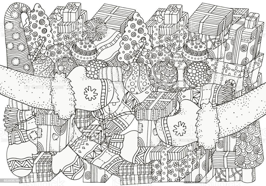 Ilustración de Patrón Para Colorear Libro Invierno Bocetos y más ...