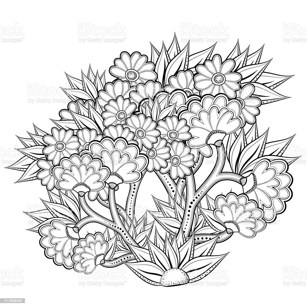 Patrón Abstracto Libro Para Colorear Con Flores - Arte vectorial de ...