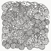 Pattern for coloring book with  artistically cherries