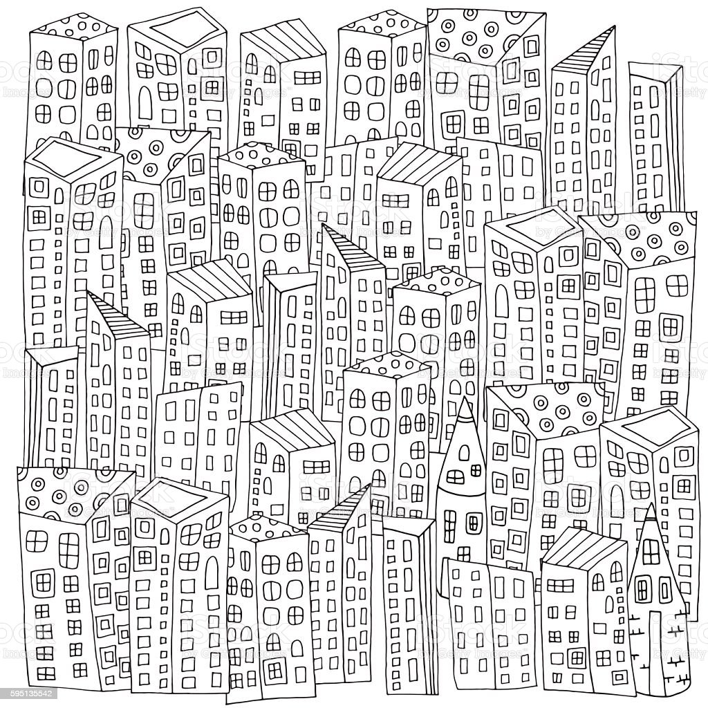 Pattern For Coloring Book With Artistically City Houses Magic Royalty Free Stock