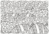 Pattern for coloring book with artistically houses. A4. Magic City