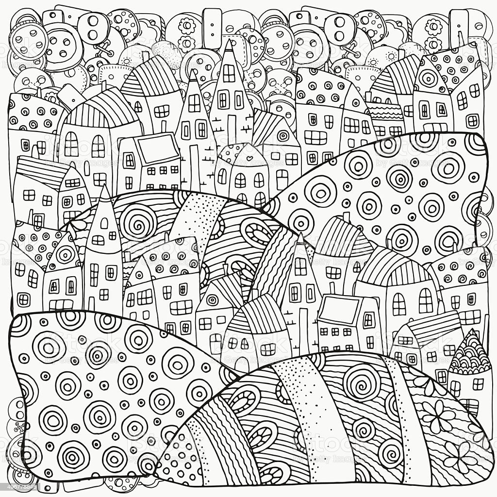 Pattern For Coloring Book With Artistically Houses Magic City Royalty Free