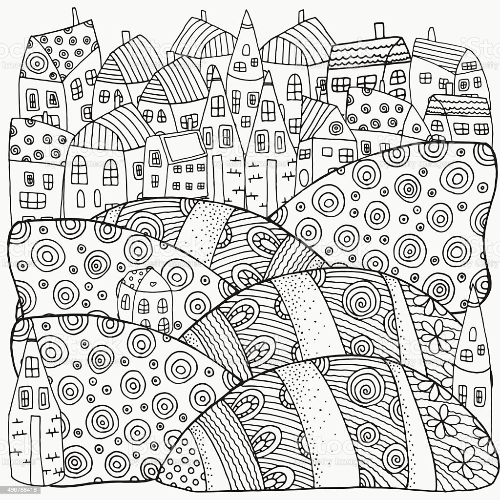 Pattern For Coloring Book With Artistically Houses Magic City Royalty Free Stock Vector Art