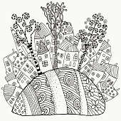 Pattern for coloring book with artistically houses. Magic City