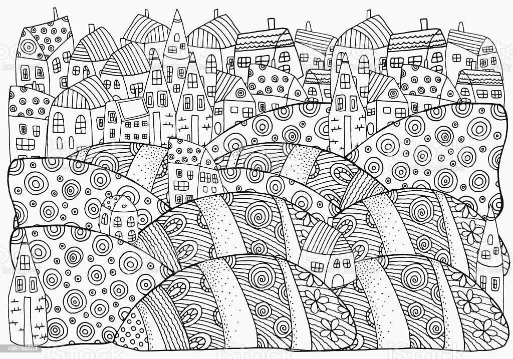 Ilustración de Patrón De Libro Para Colorear Con Casas De Forma ...
