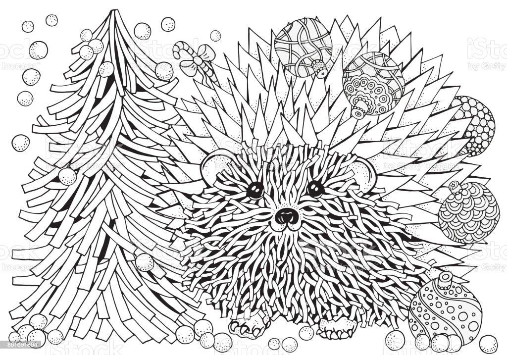 Modelo Para Libro Con árbol De Navidad Erizo Espinoso Con Bolas De ...