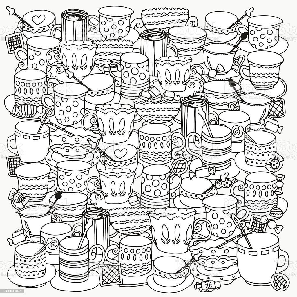 Ilustración De Patrón Para Colorear Libro Con Recipientes Y