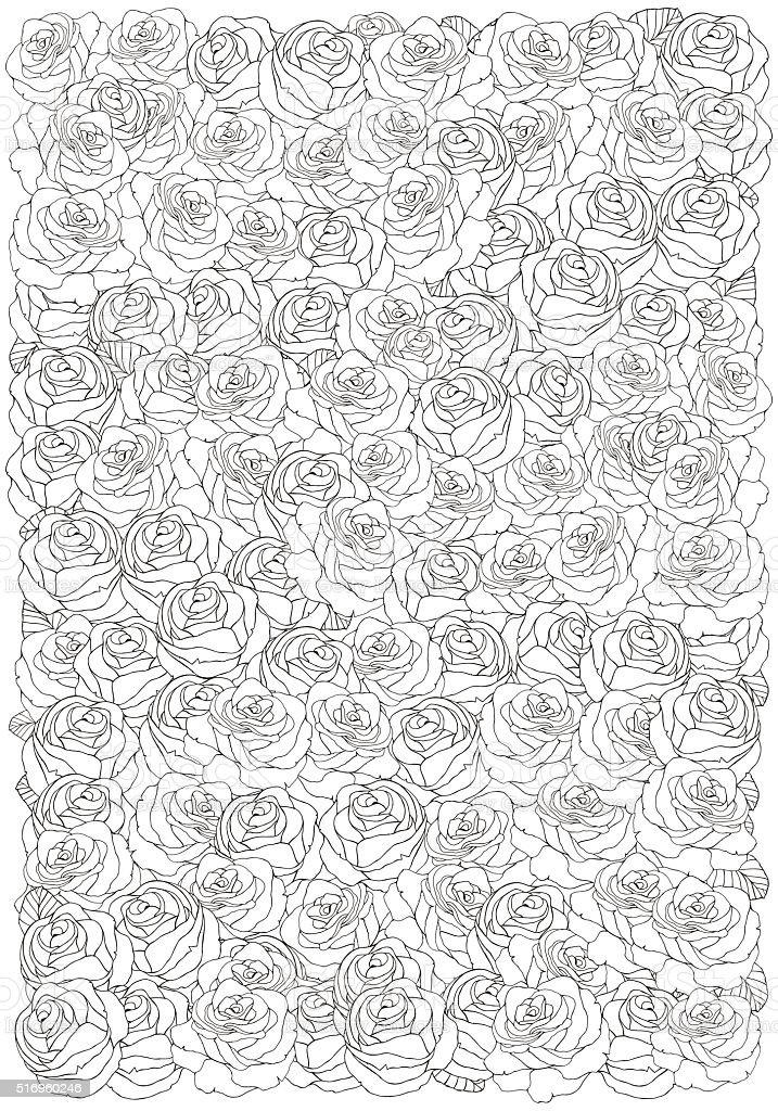 Ilustración de Libro Para Colorear Patrón Con Rosas y más banco de ...