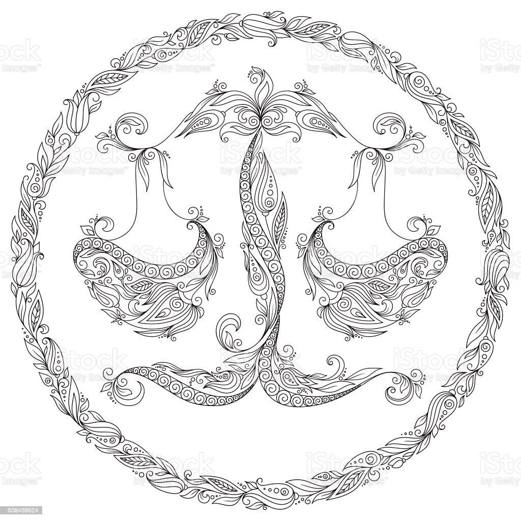 книгараскраска рисунком весы зодиак стоковая векторная