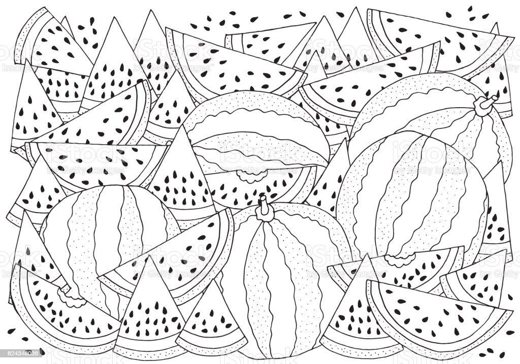 Ilustración de Patrón Para Colorear Con Sandía Tamaño A4 Ilustración ...