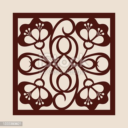 Floral geometric ornament. The template pattern for decorative panel. A picture suitable for paper cutting, printing, laser cutting or engraving wood, metal. Stencil manufacturing. Vector
