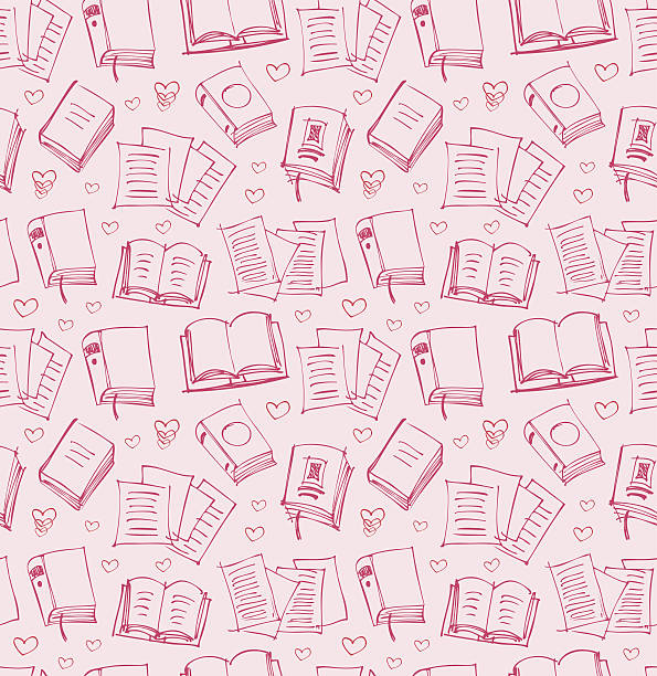 Pattern for girls with books, papers and hearts Pattern for girls with books, papers and hearts book patterns stock illustrations