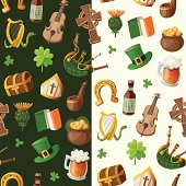 Pattern for saint patrick's day with traditional irish items
