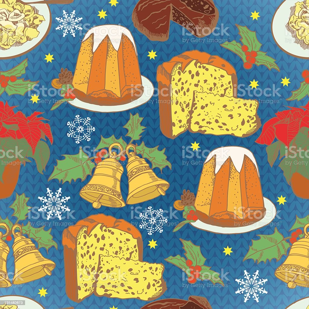 Pattern for the Christmas traditions in Italy knitting backgroun vector art illustration