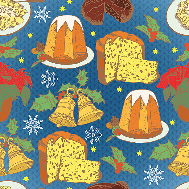 Pattern for the Christmas traditions in Italy knitting backgroun Pattern for the Christmas traditions in Italy knitting background tortellini stock illustrations