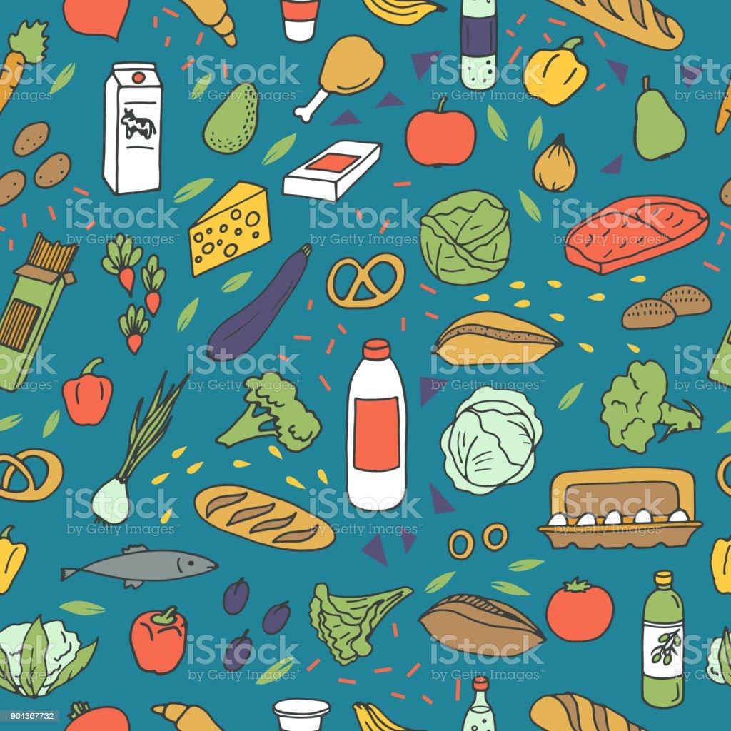 Padrão de esboços de comida - Vetor de Alimentação Saudável royalty-free