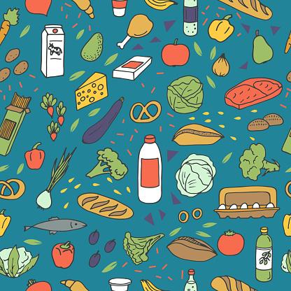Vetores de Padrão De Esboços De Comida e mais imagens de Alimentação Saudável