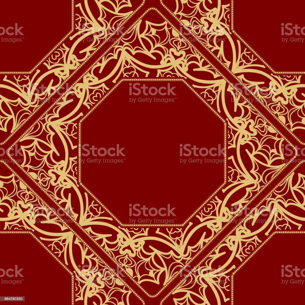 pattern from geometric ornament with lace element. for the Print. Vector illustration. Decorative Red, gold color royalty-free pattern from geometric ornament with lace element for the print vector illustration decorative red gold color stock vector art & more images of abstract
