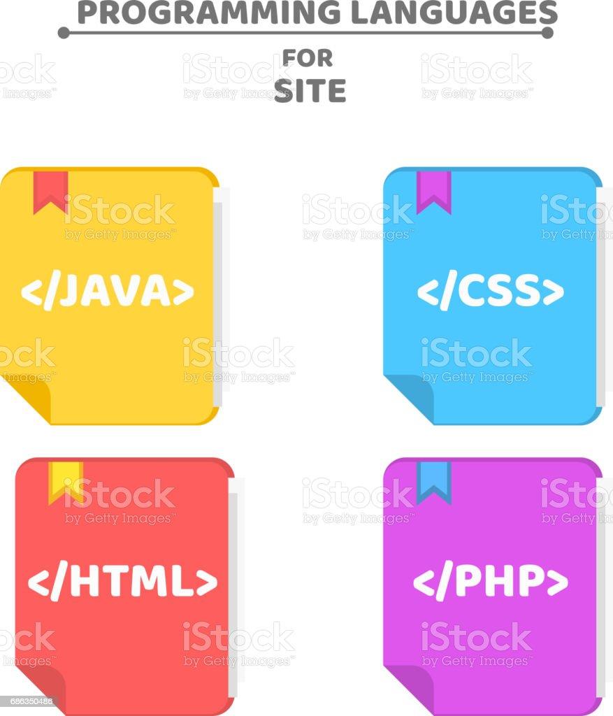 Ein Muster Von Programmiersprachen Bunte Bücher Farbigen Hintergrund ...
