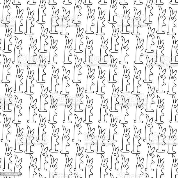 Pattern funny bunnies cartoon in doodle style black line on white vector id1199874691?b=1&k=6&m=1199874691&s=612x612&h=7jtxotqmxbnhjix0gfltvh0klte4vkungiazyz9asea=