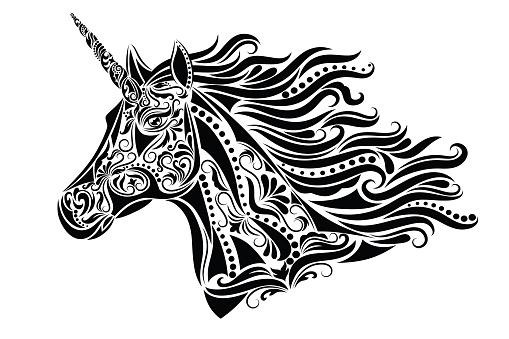 Pattern in a shape of a unicorn head.