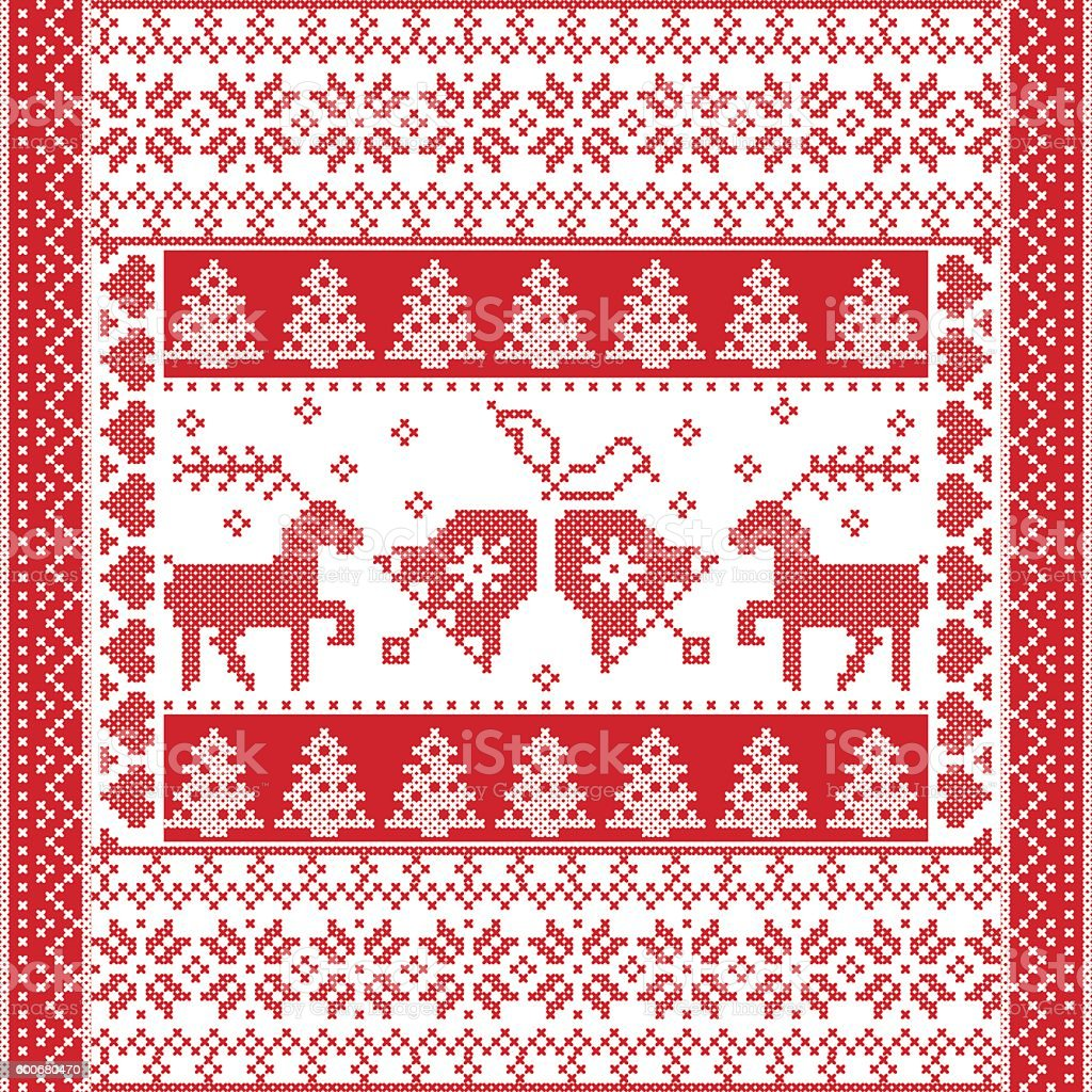 pattern in cross stitch style with christmas bell tree reindeer