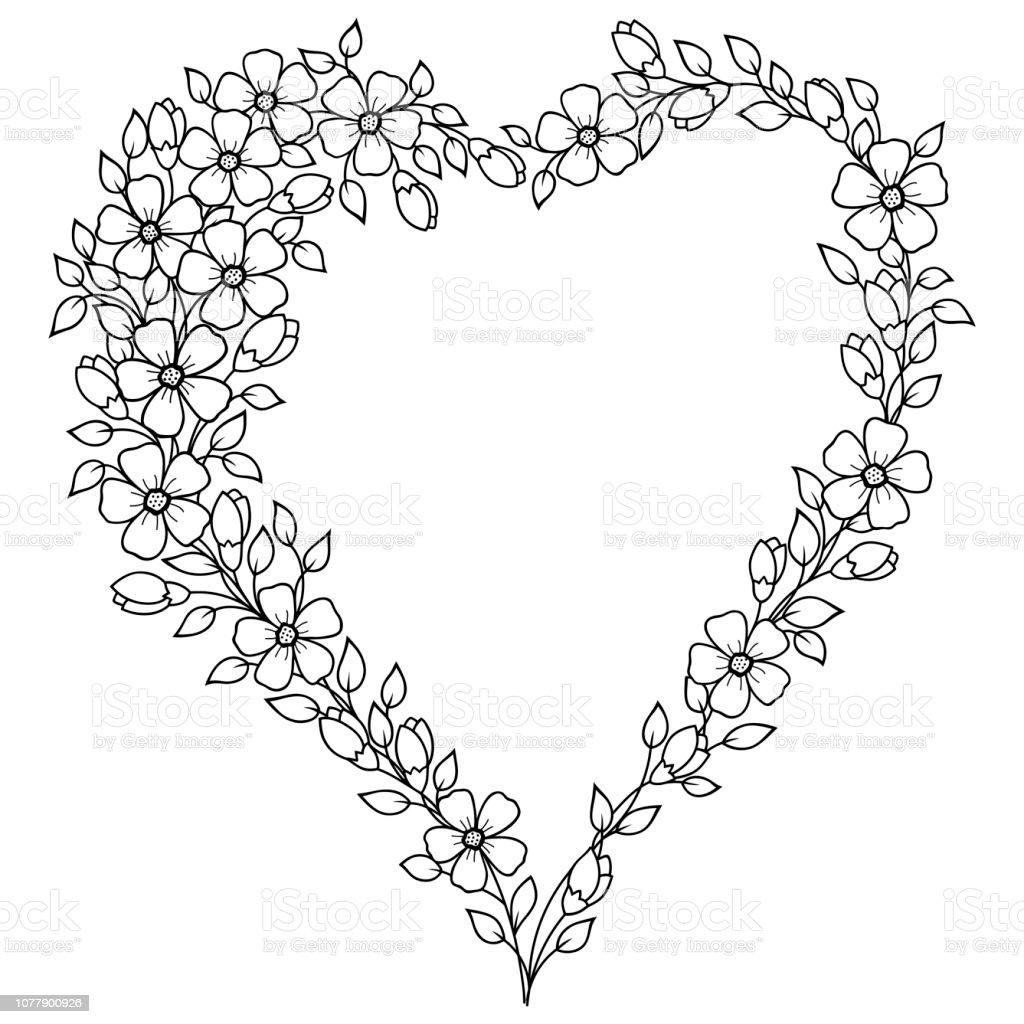 Coloriage Guirlande Fleurs.Motif En Forme De Coeur Pour Le Henne Mehndi Tatouage