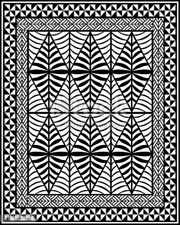 Vector illustration composed by gathered classic shapes inspired by classic geometrical patterns used since centuries by ethnic groups living in Polynesian islands.