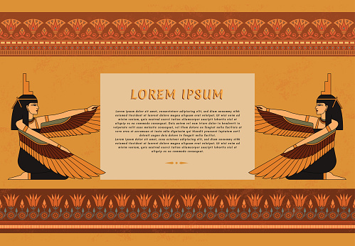 Pattern leaflets in Egyptian style with an illustration of the goddess of ancient Egypt Isis with a place for text