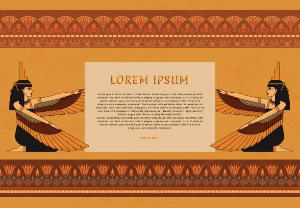 Pattern leaflets in Egyptian style with an illustration of the goddess of ancient Egypt Isis with a place for text Pattern leaflets in Egyptian style with an illustration of the goddess of ancient Egypt Isis with a place for text. egyptian culture stock illustrations