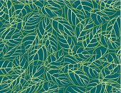 Pattern of leaves of various shapes. Contours de feuilles aux multiples formes. Aussi disponible / Also available in Illustrator CS2
