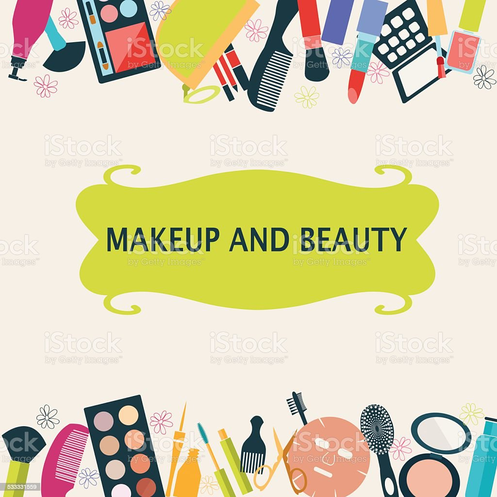 pattern MakeUp and beauty cosmetic vector art illustration