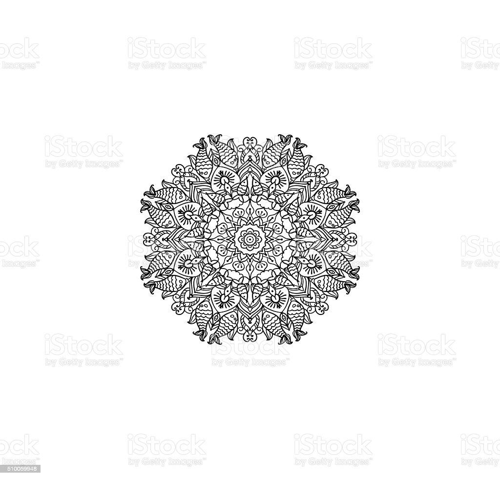 Muster Mandala Mit Tier Stil Vektorillustration Stock Vektor Art und ...