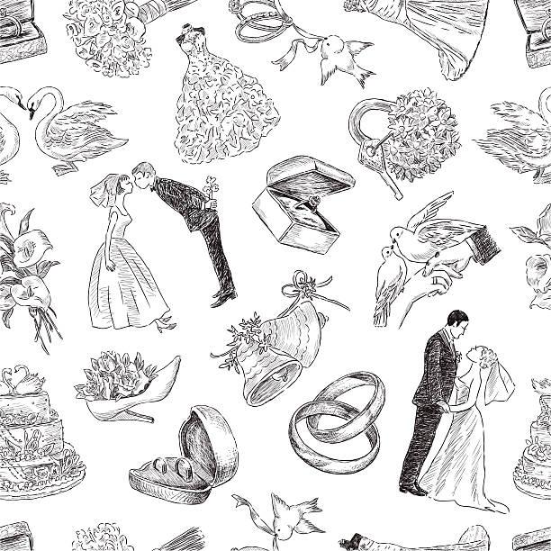 muster von einer hochzeit symbole - rosenhochzeitskleider stock-grafiken, -clipart, -cartoons und -symbole