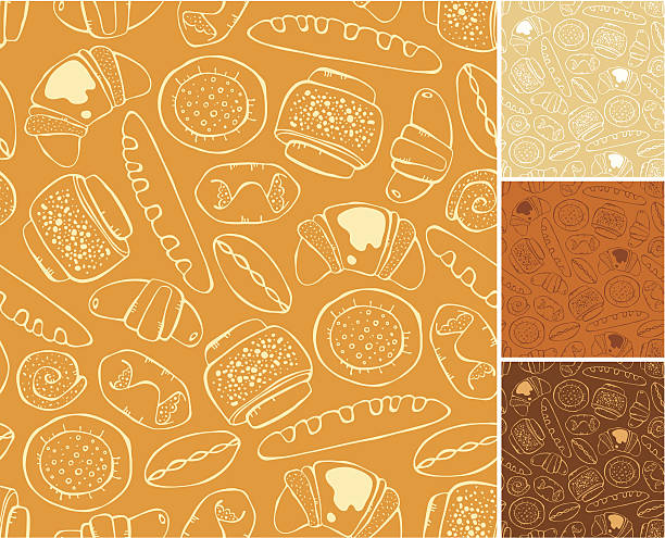 pattern of baking Outline vector seamless pattern of sweet baking bread patterns stock illustrations